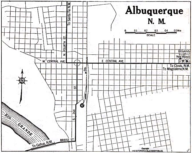 Historical Maps of U.S Cities. Albuquerque, New Mexico 1920 Automobile Blue Book (137K)