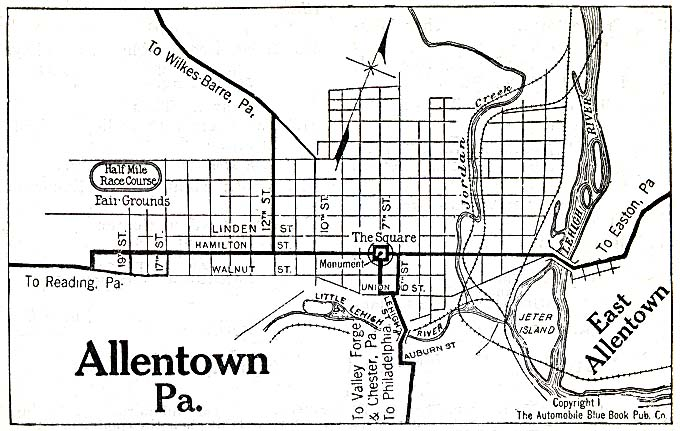 Historical Maps of U.S Cities. Allentown, Pennsylvania 1920 Automobile Blue Book (117K)