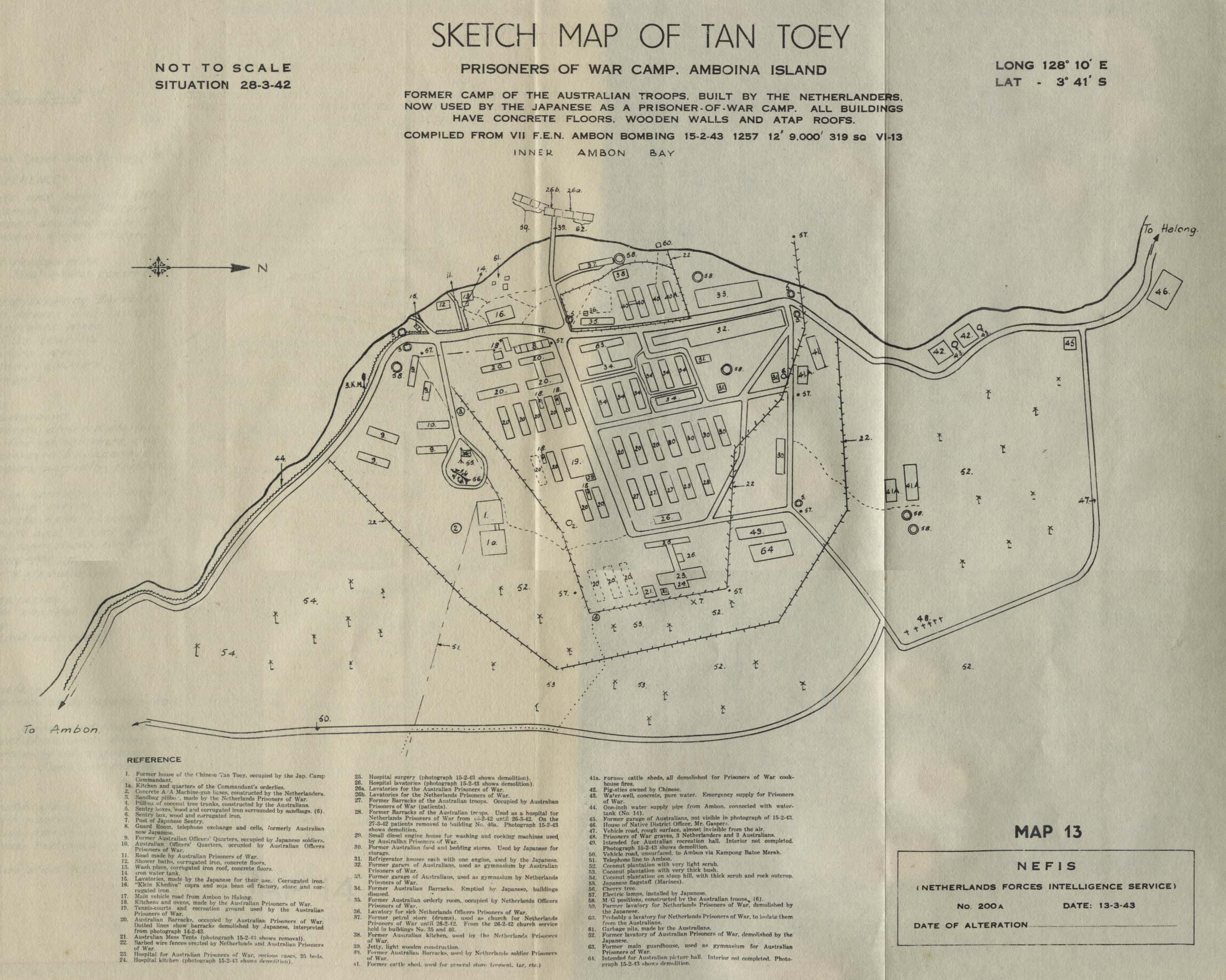 Map Of Tan Toey Prisoners Of War Camp Amboina From Allied Geographical Section Southwest Pacific Area Area Study Of Ambon Island Terrain Study No