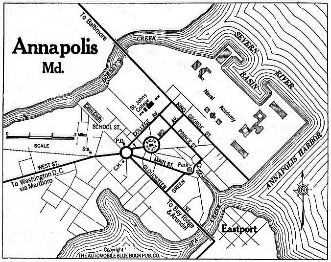 Historical Maps of U.S Cities. Annapolis, Maryland 1920 Automobile Blue Book (156K)