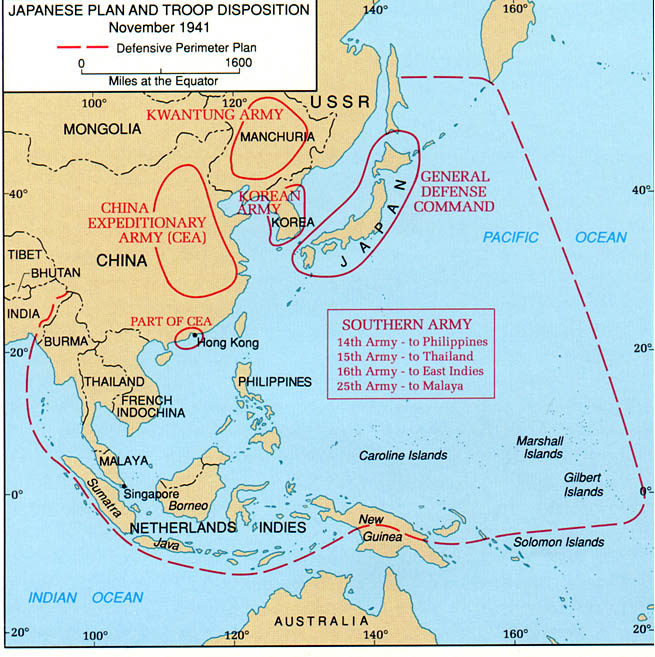 asia and the pacific the japanese plan and troop disposition november 1941