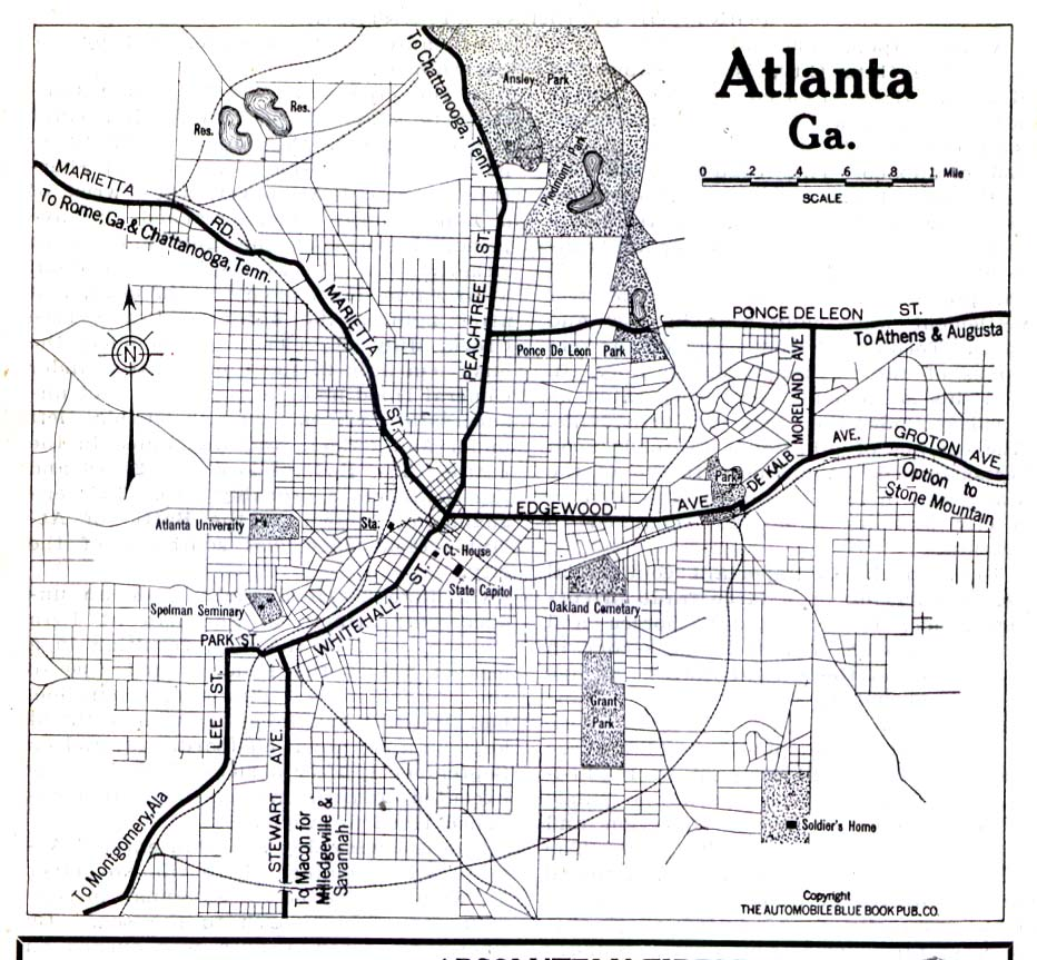 historical city maps atlanta 1919 automobile