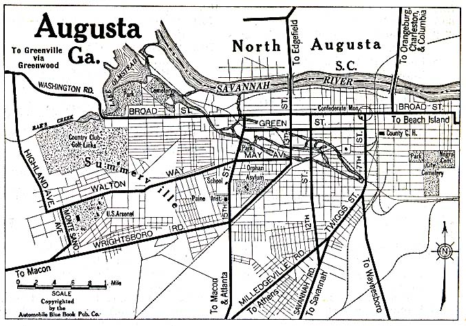 Historical Maps of U.S Cities. Augusta, Georgia 1920 Automobile Blue Book (156K)
