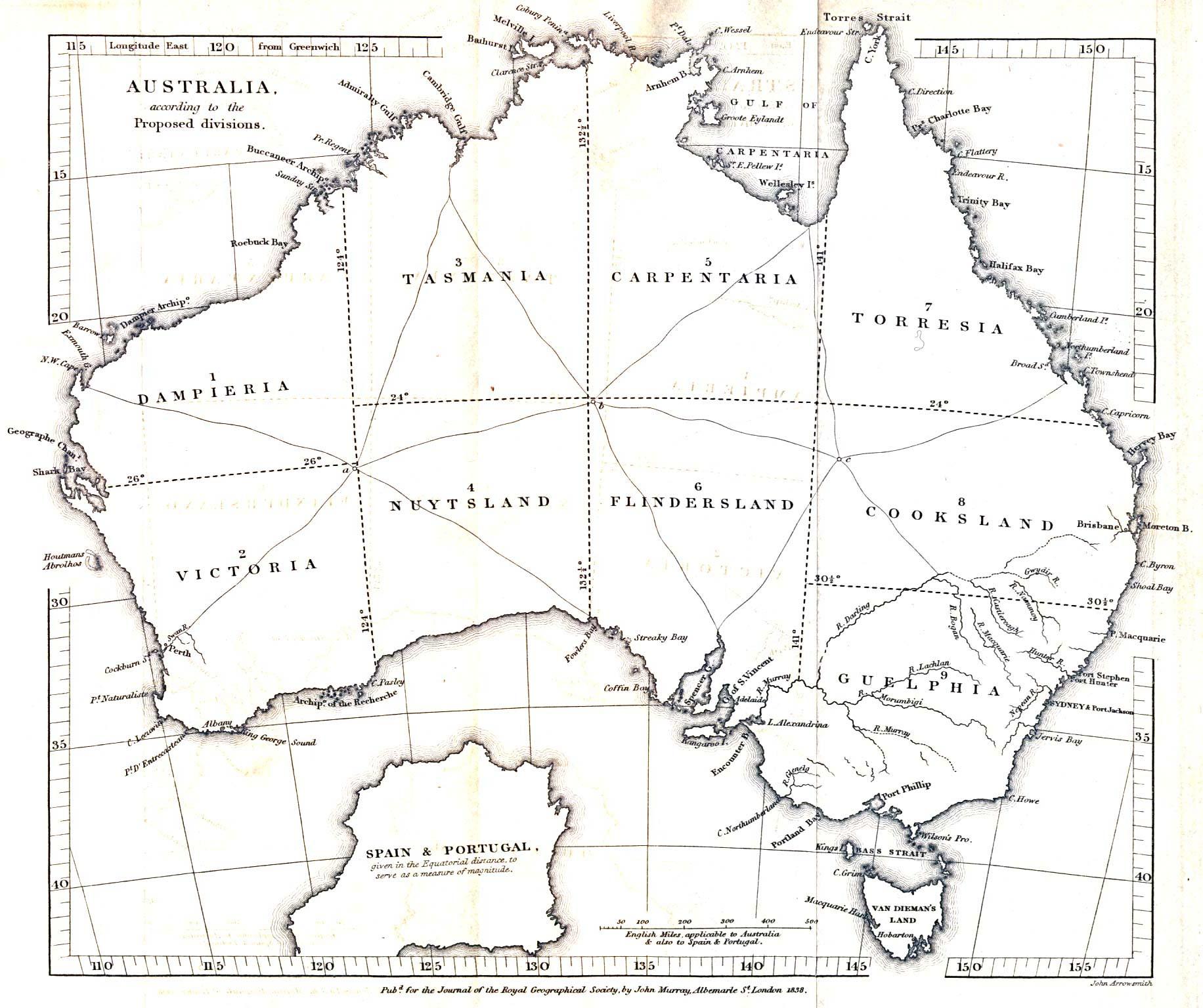 Australia Proposed Divisions 1838