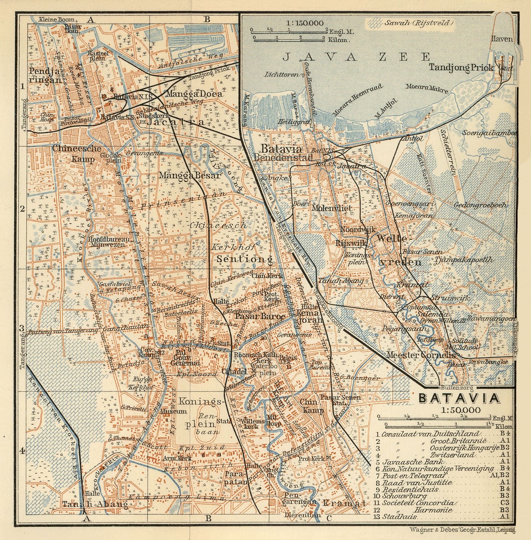 Baedeker indien 1914 maps perry castaeda map collection ut batavia java dutch east indies gumiabroncs Image collections