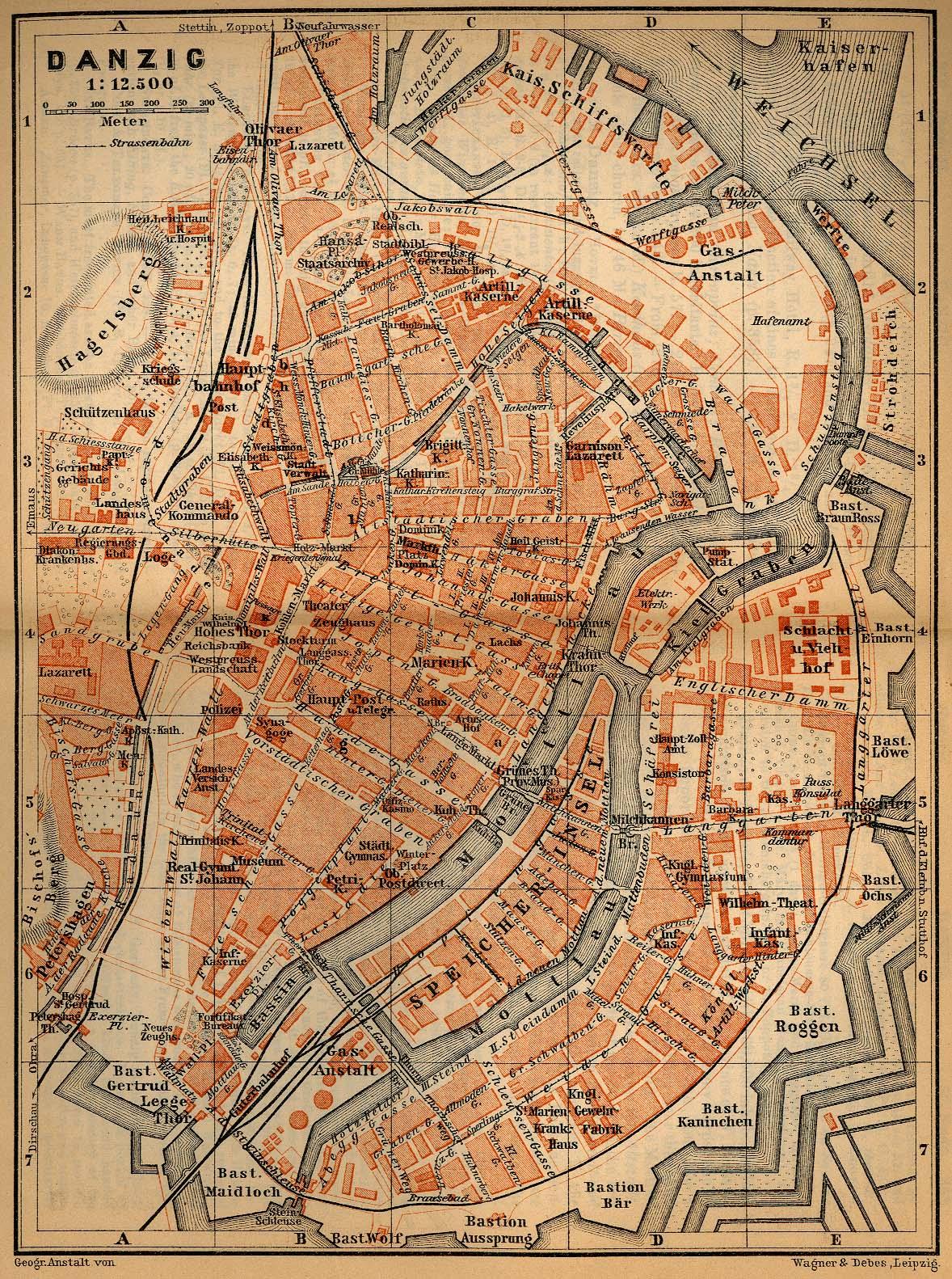 Danzig Mapa histórico, Alemania 1910.