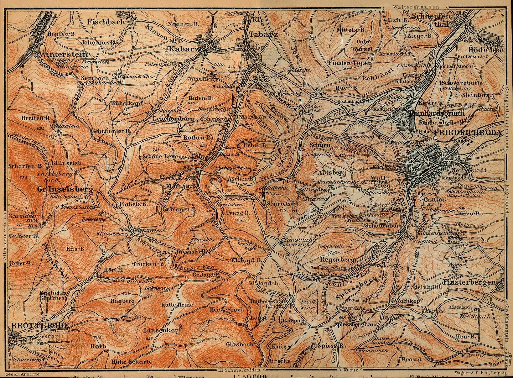 Alrededores de Friedrichroda Mapa histórico, Alemania 1910.