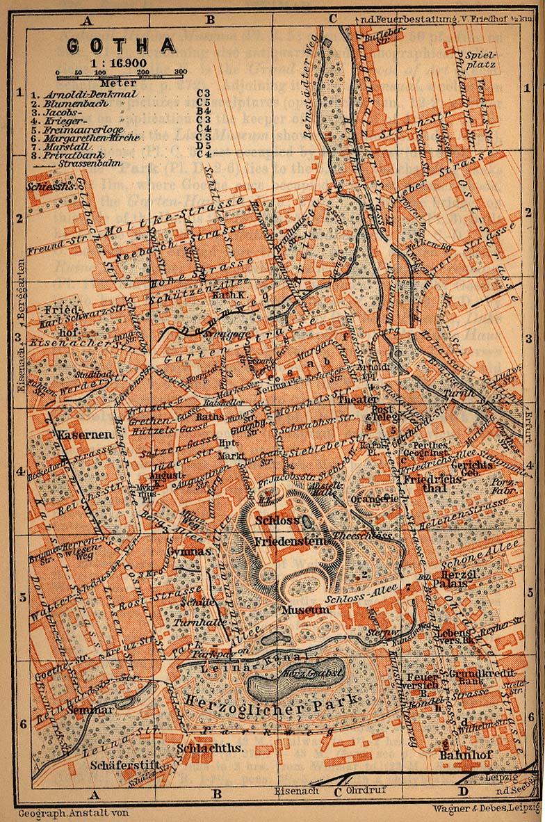 Gotha Mapa histórico, Alemania 1910.