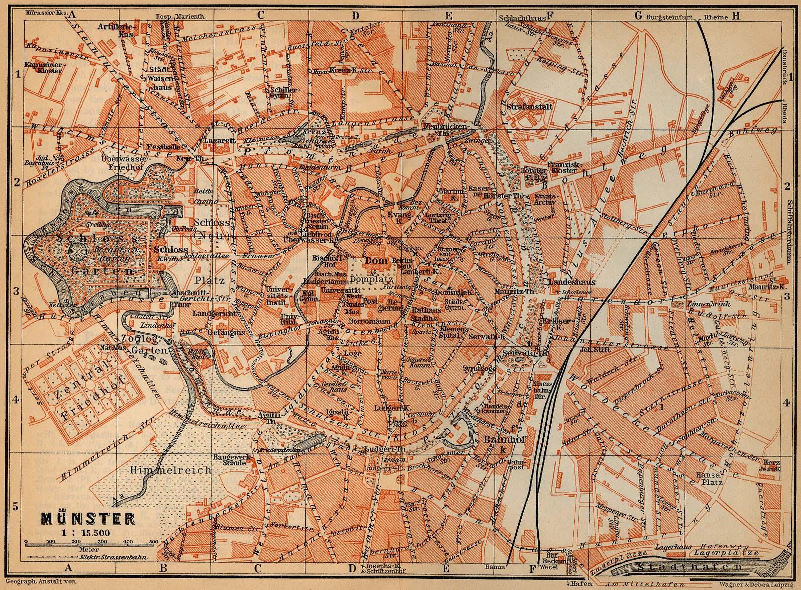 Münster Mapa histórico, Alemania 1910.