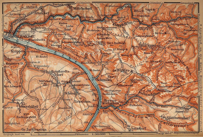 Sajón Suiza from Schandau to Herrnskretschen, Mapa histórico, Alemania 1910.