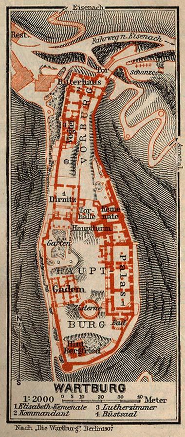 Wartburg Mapa histórico, Alemania 1910.