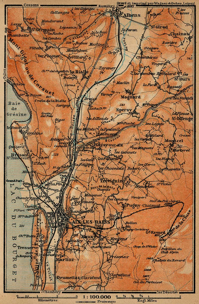 Baedeker 39 s southern france 1914 perry casta eda map for Ax les bains