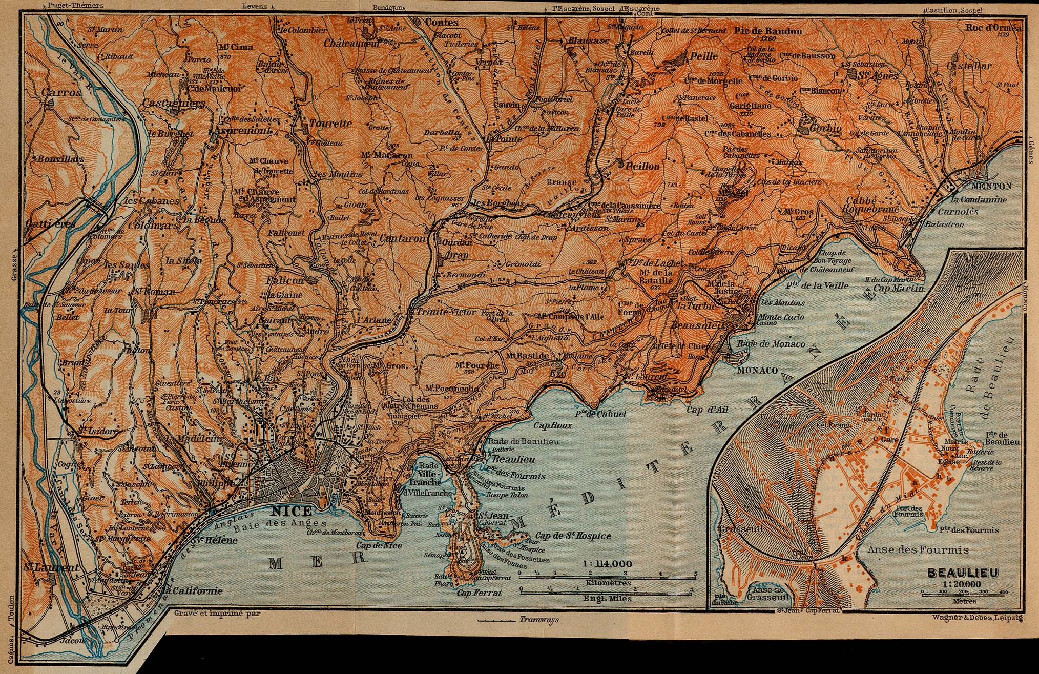 Baedekers Southern France 1914  PerryCastaeda Map Collection