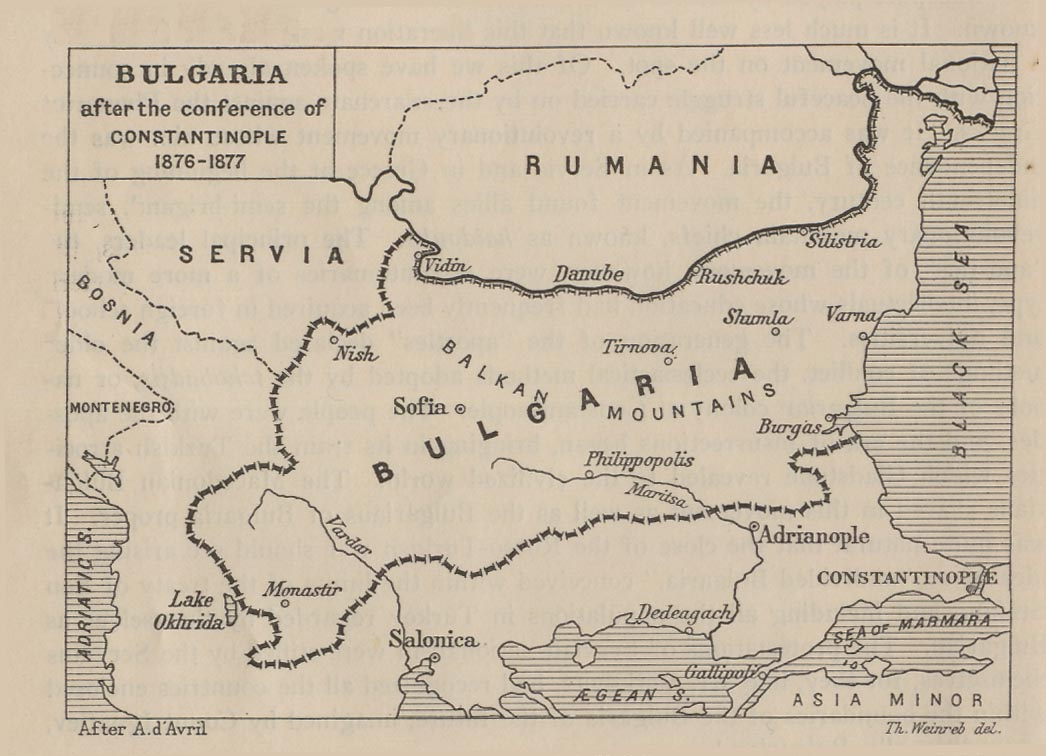 bulgaria after the conference of constantinople 1876 1877 124k map from