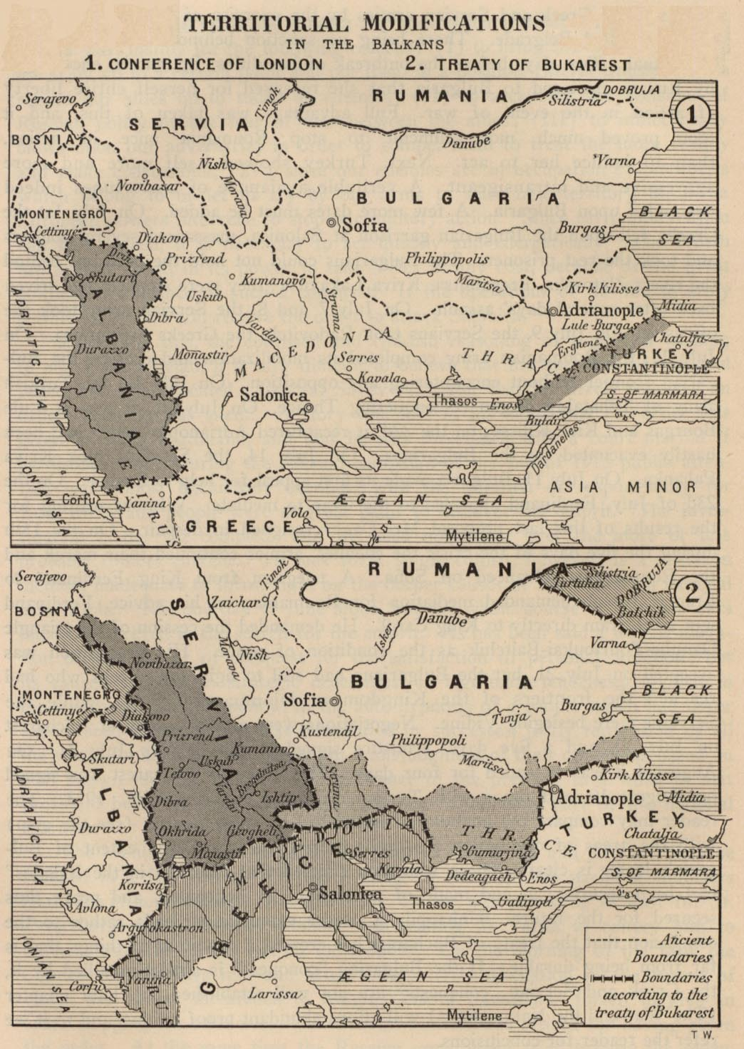 The balkans historical maps perry castaeda map collection ut territorial modifications in the balkans conference of london may 1913 and treaty of bukarest august 1913 281k map sciox Images