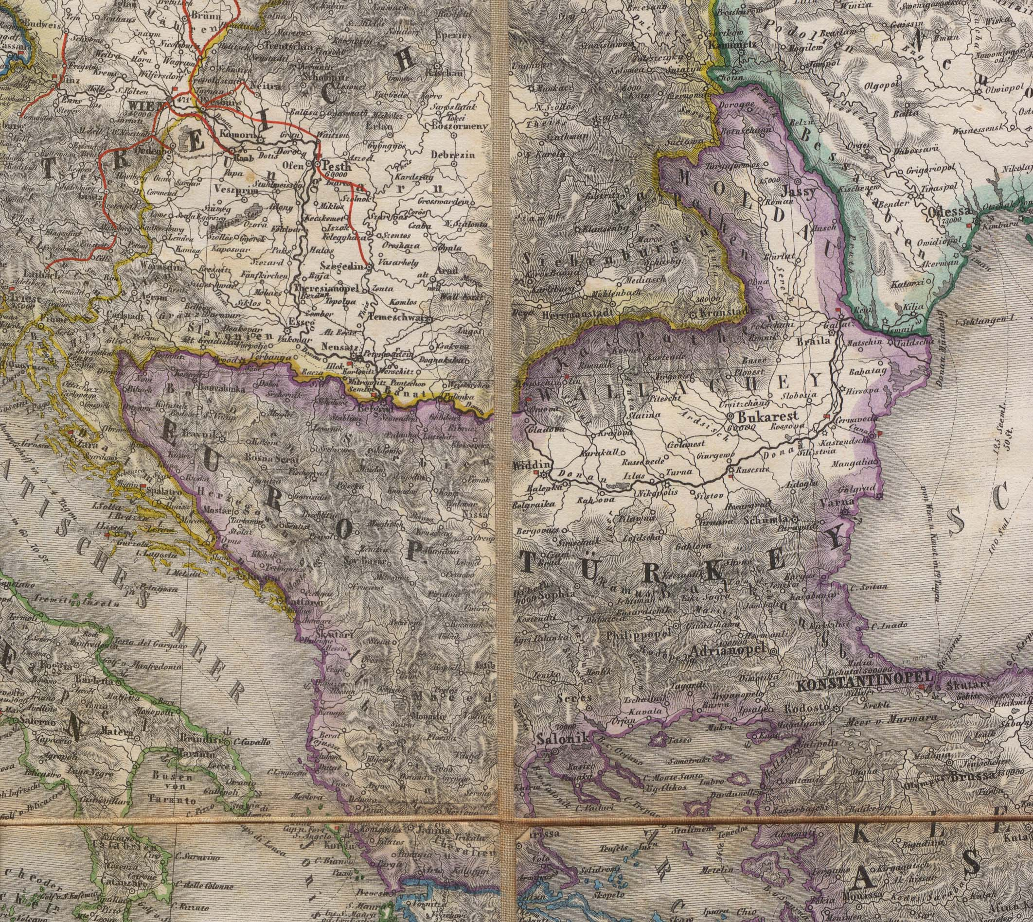 Portion of an 1856 map of Europe