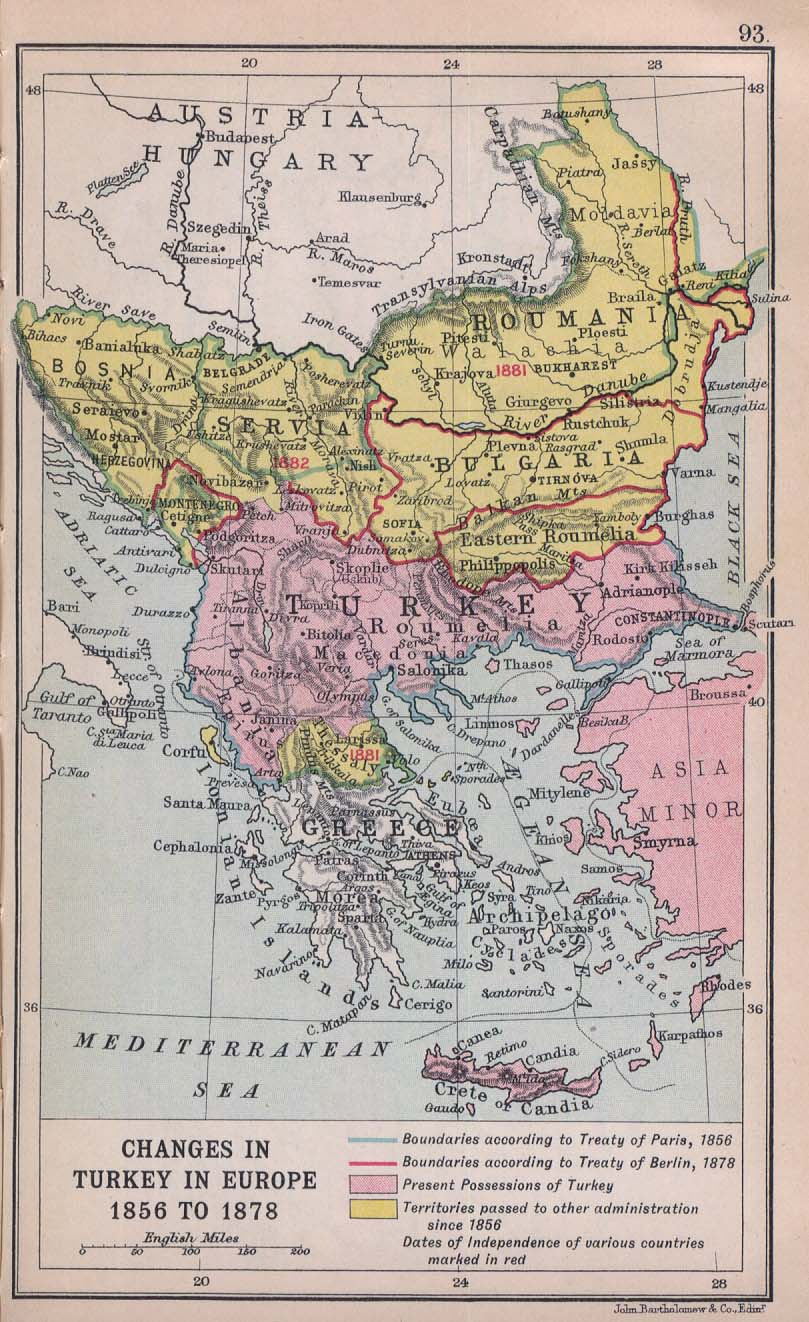 1912 map of the Balkans showing the shrinking borders of the Ottoman Empire, from the Perry-Castaneda Library Map