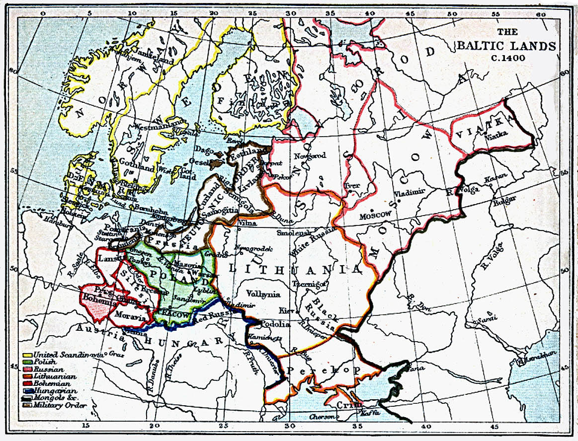 Map Of Latvia, Baltic Lands 1400 A.D. (366K)