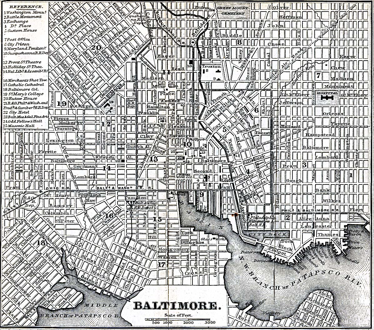 Historical Maps of U.S Cities. Baltimore, Maryland 1848 Appletons' Hand-Book of American Travel. New York: D. Appleton and Company, 1869 (723K)