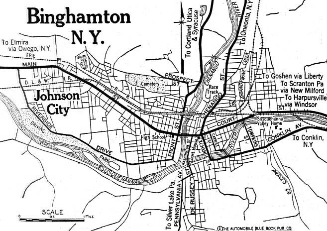 Historical Maps of U.S Cities. Binghamton, New York 1920 Automobile Blue Book (117K)
