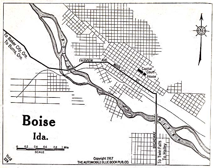 Historical Maps of U.S Cities. Boise, Idaho 1917 Automobile Blue Book (128K)