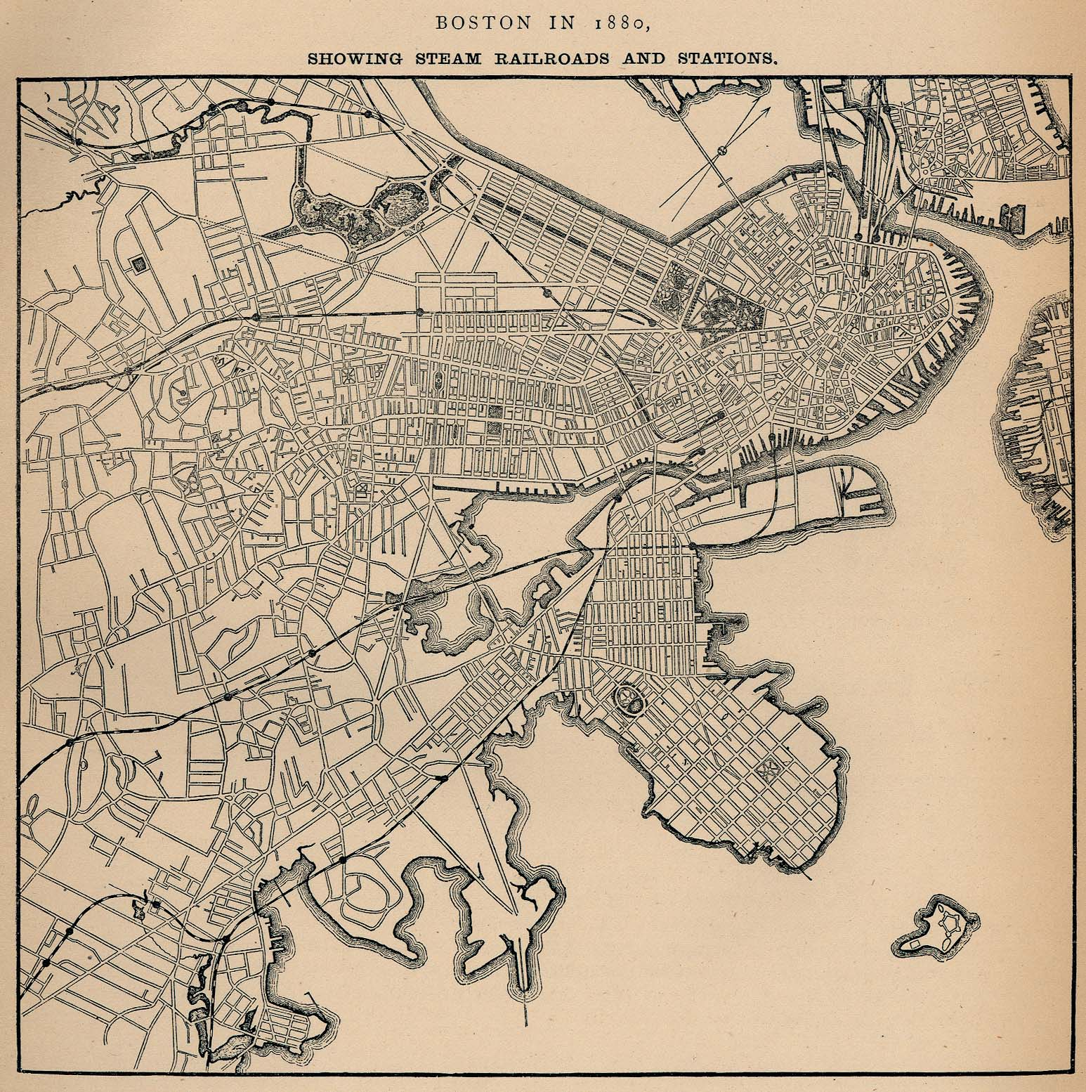 boston maps atlases and city (streets) directories » bu  - (k) boston massachusetts  – steam railroads and stations ""