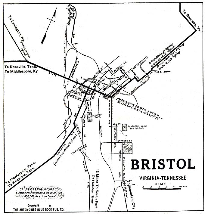 Historical Maps of U.S Cities. Bristol, Virginia/tennessee 1919 Automobile Blue Book (117K)