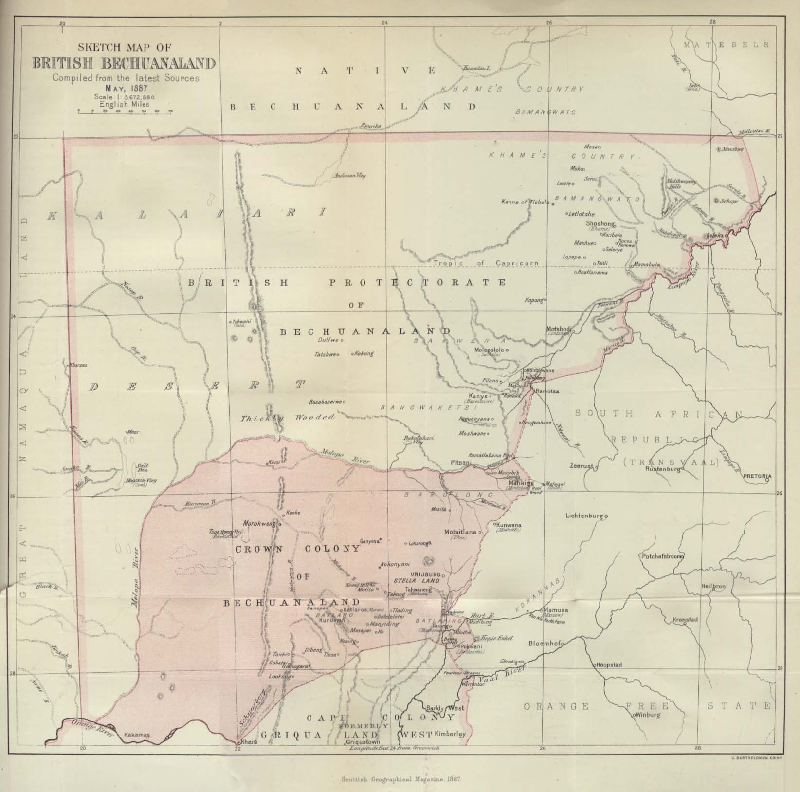Africa historical maps perry castaeda map collection ut library bechuanaland 1887 ccuart Images