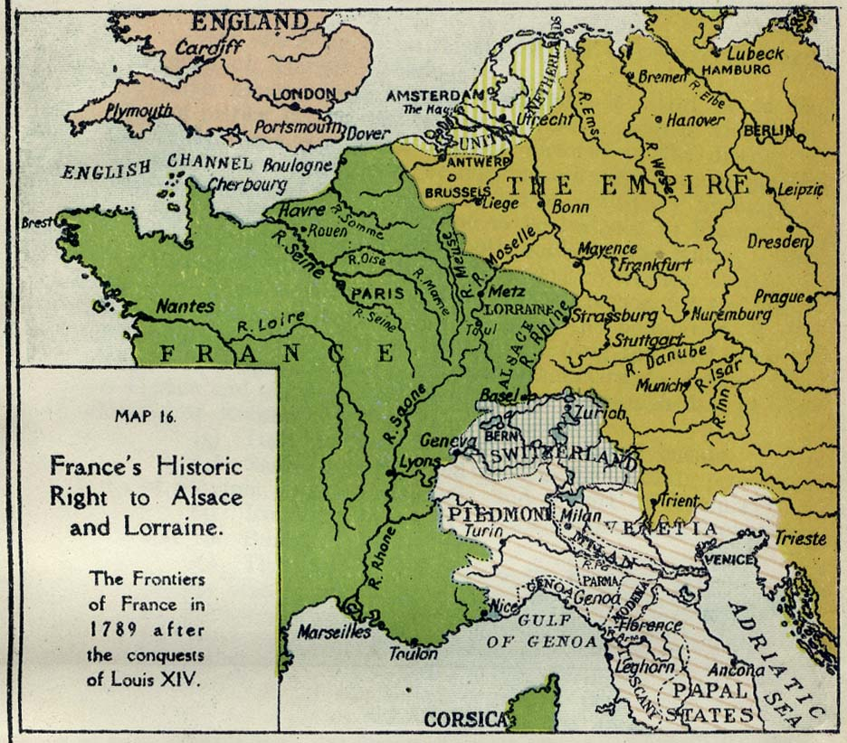 Historical maps of france frances historic right to alsace and lorraine the frontiers of france in 1789 after the conquests of louis xiv gumiabroncs Images