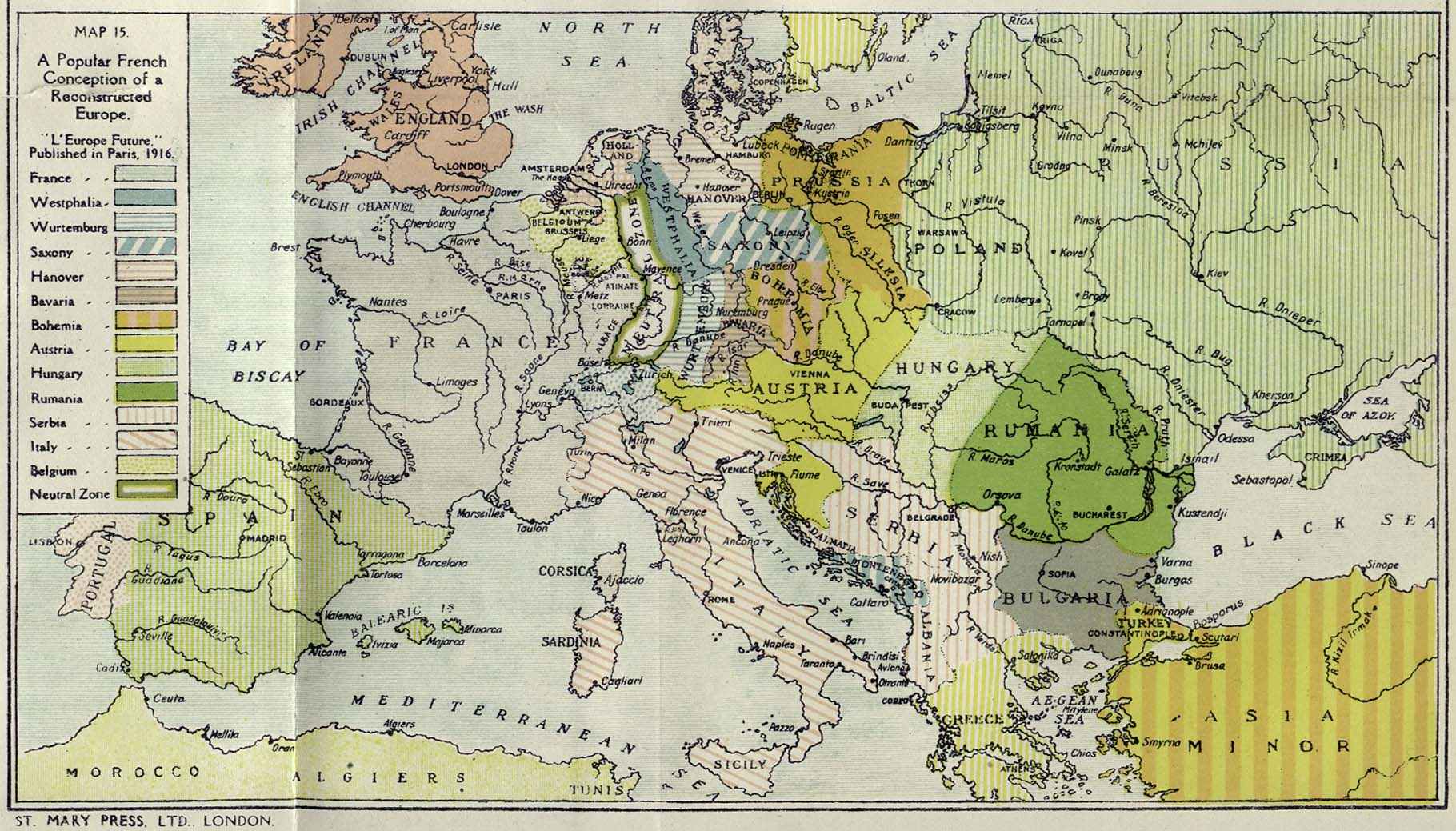 France On The Map Of Europe.A French Map Of Reconstructed Europe Published In 1916 World War