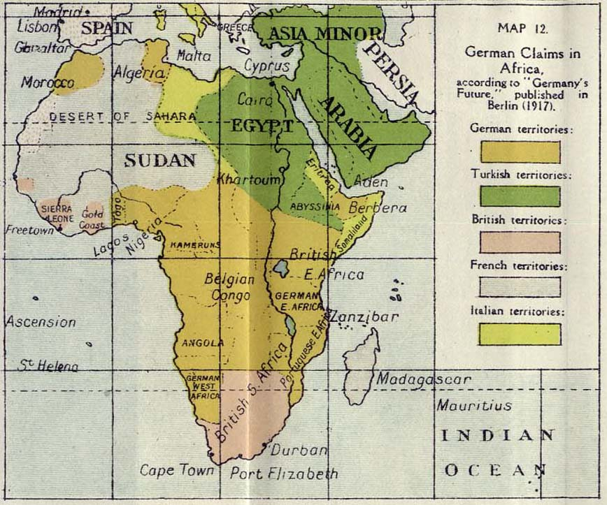 148 german claims in africa 1917