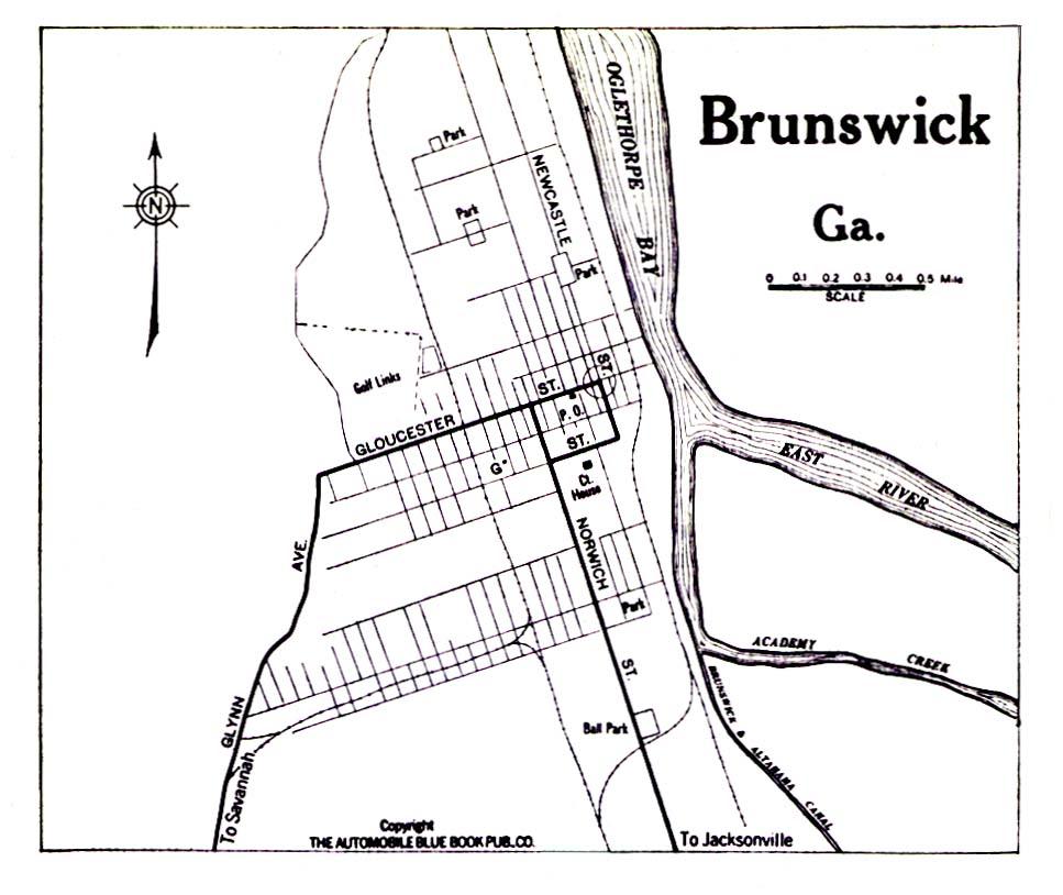 Historical Maps of U.S Cities. Brunswick, Georgia 1919 Automobile Blue Book (194K)