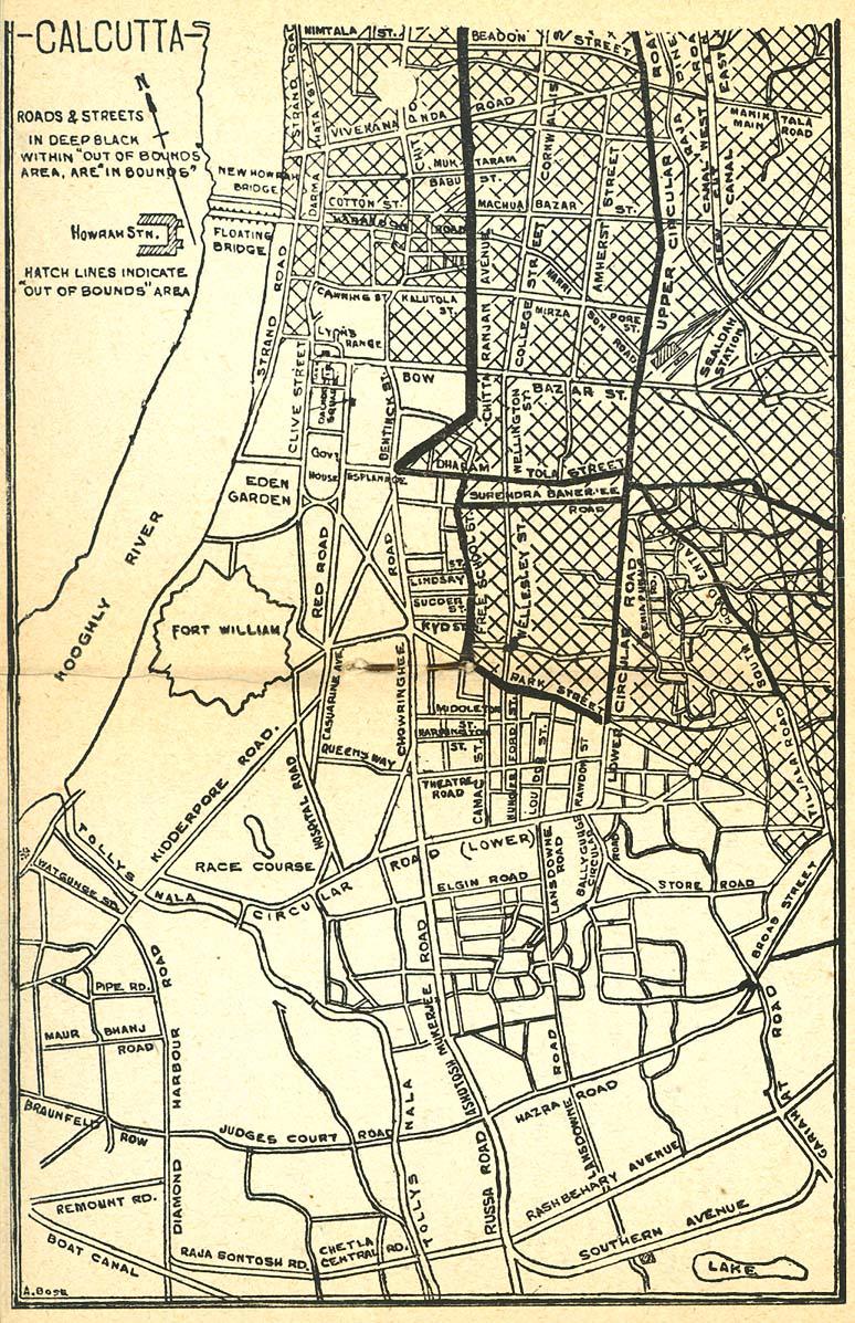 Calcutta Mapa, India 1945.