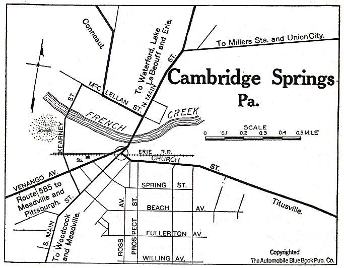 Historical Maps of U.S Cities. Cambridge Springs, Pennsylvania 1920 Automobile Blue Book (117K)