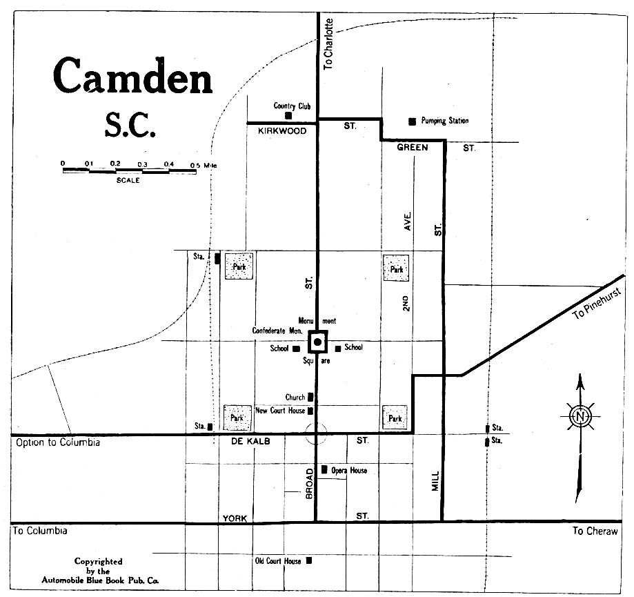 Historical Maps of U.S Cities. Camden, South Carolina 1919 Automobile Blue Book (117K)