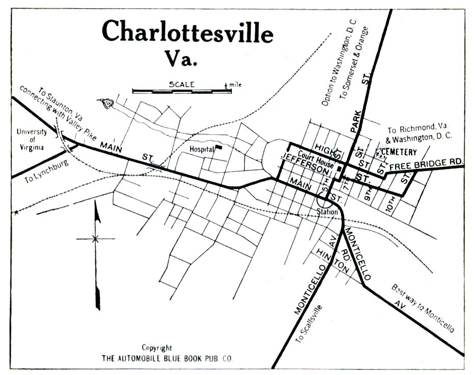Historical Maps of U.S Cities. Charlottesville, Virginia 1919 Automobile Blue Book (194K)
