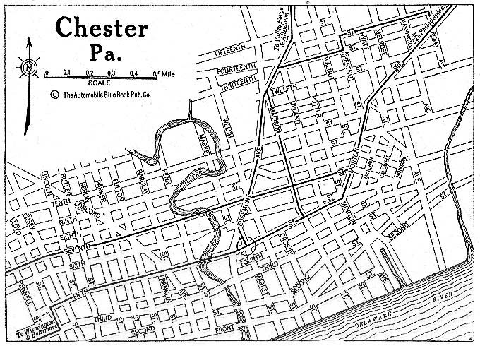 Historical Maps of U.S Cities. Chester, Pennsylvania 1920 Automobile Blue Book (176K)