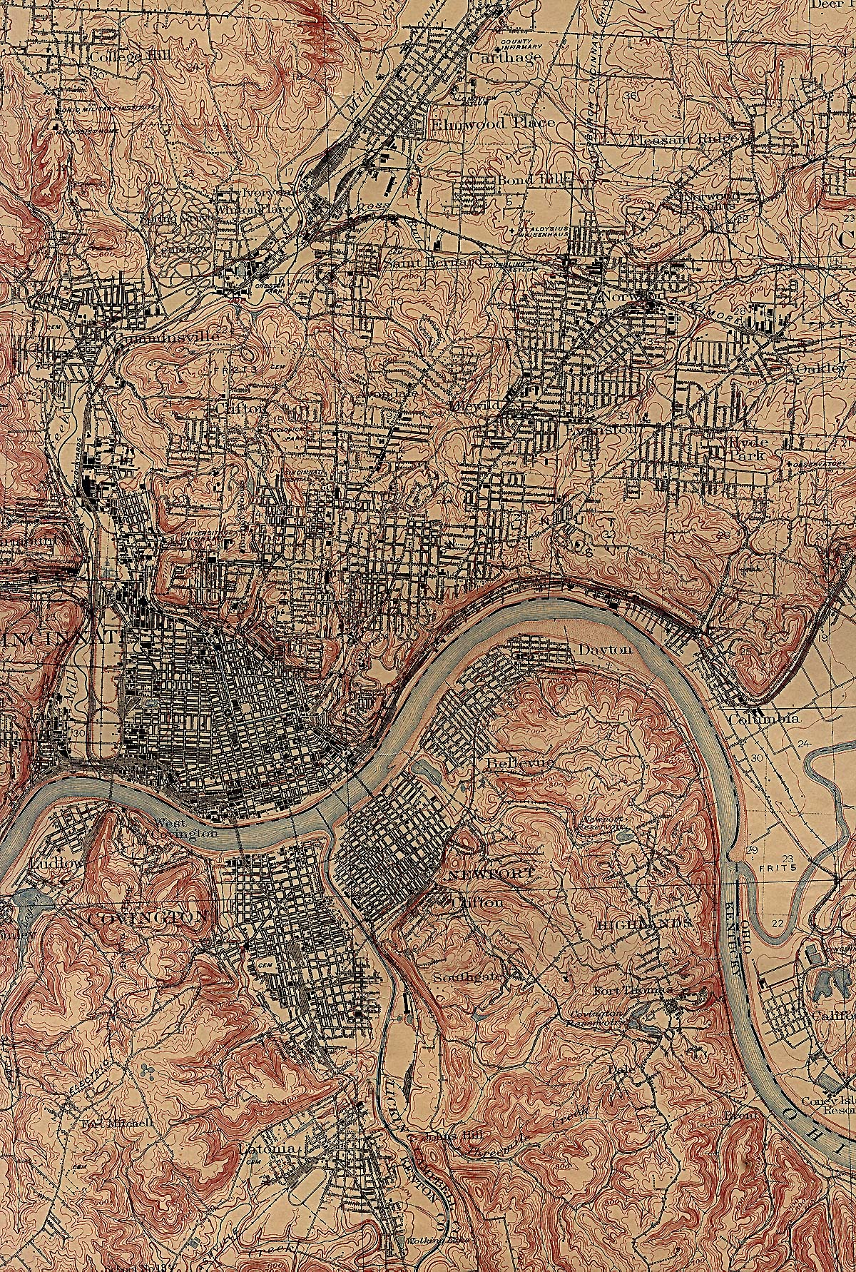 Historical Maps of U.S Cities. Cincinnati, Ohio 1914 U.S. Geological Survey (1,454K)