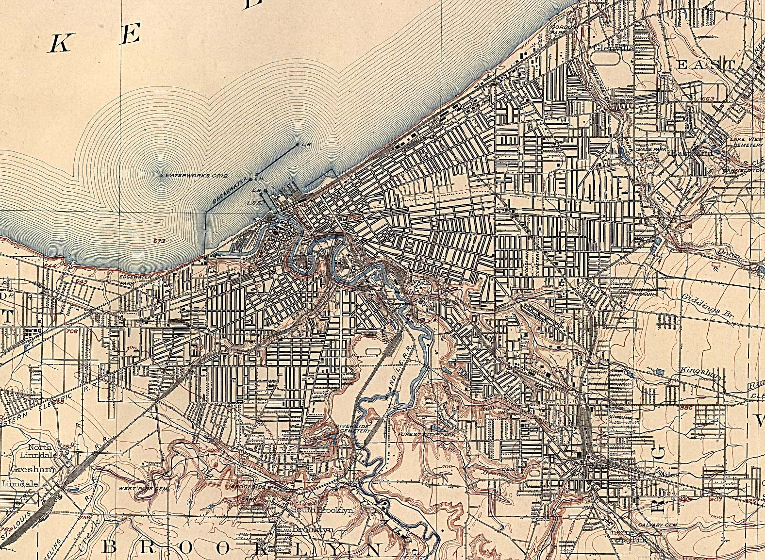 Historical Maps of U.S Cities. Cleveland, Ohio 1904 U.S. Geological Survey (893K)