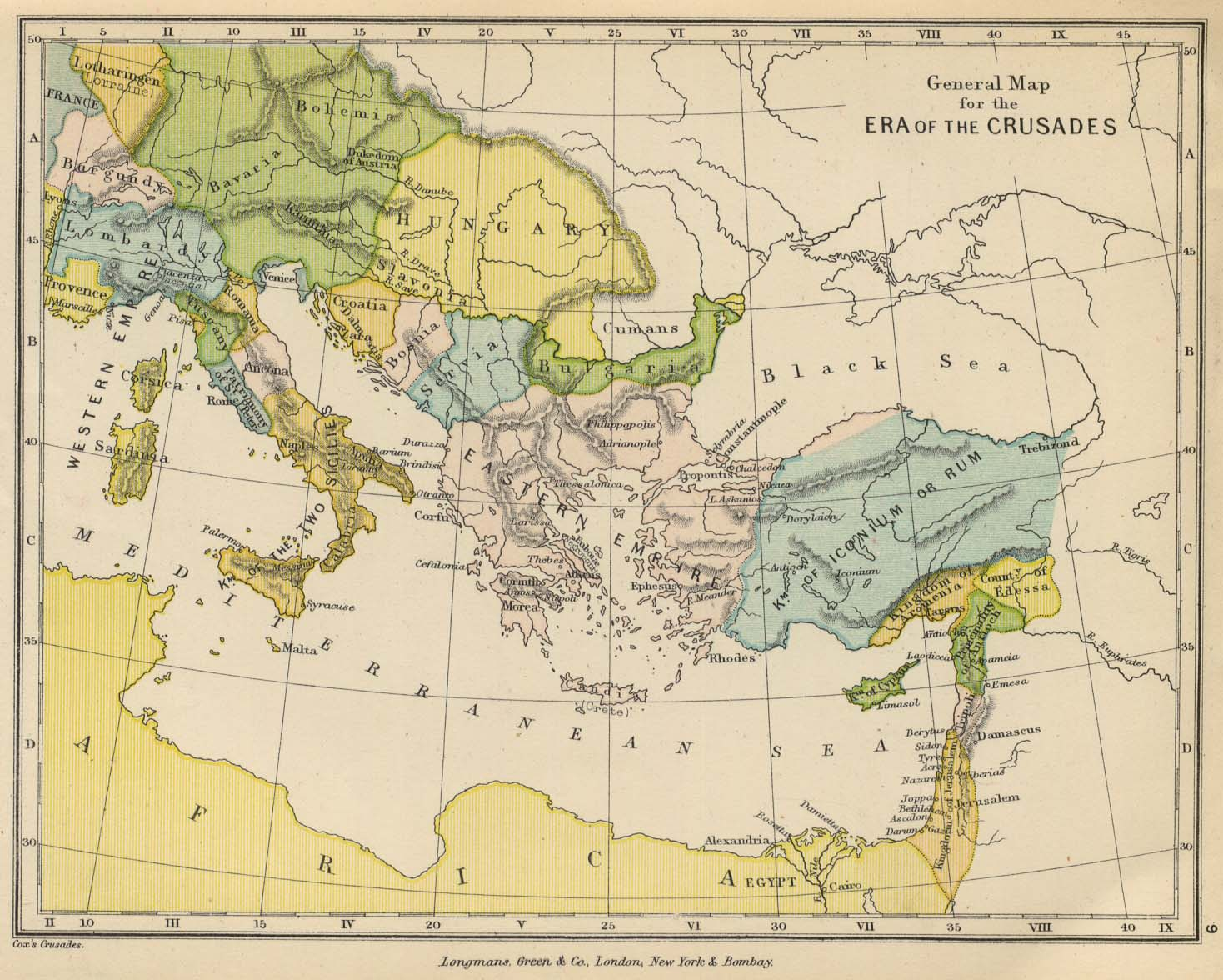Public schools historical atlas by c colbeck perry castaeda map map 8 europe and the east to illustrate the crusades gumiabroncs Choice Image