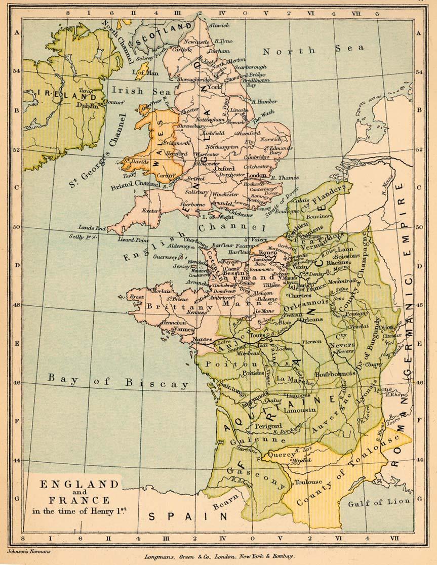 England und Frankreich zur Zeit Henry I. von England, Karte 11 des The Public Schools Historical Atlas von Charles Colbeck. Longmans, Green; New York; London; Bombay. 1905. public domain/gemeinfrei
