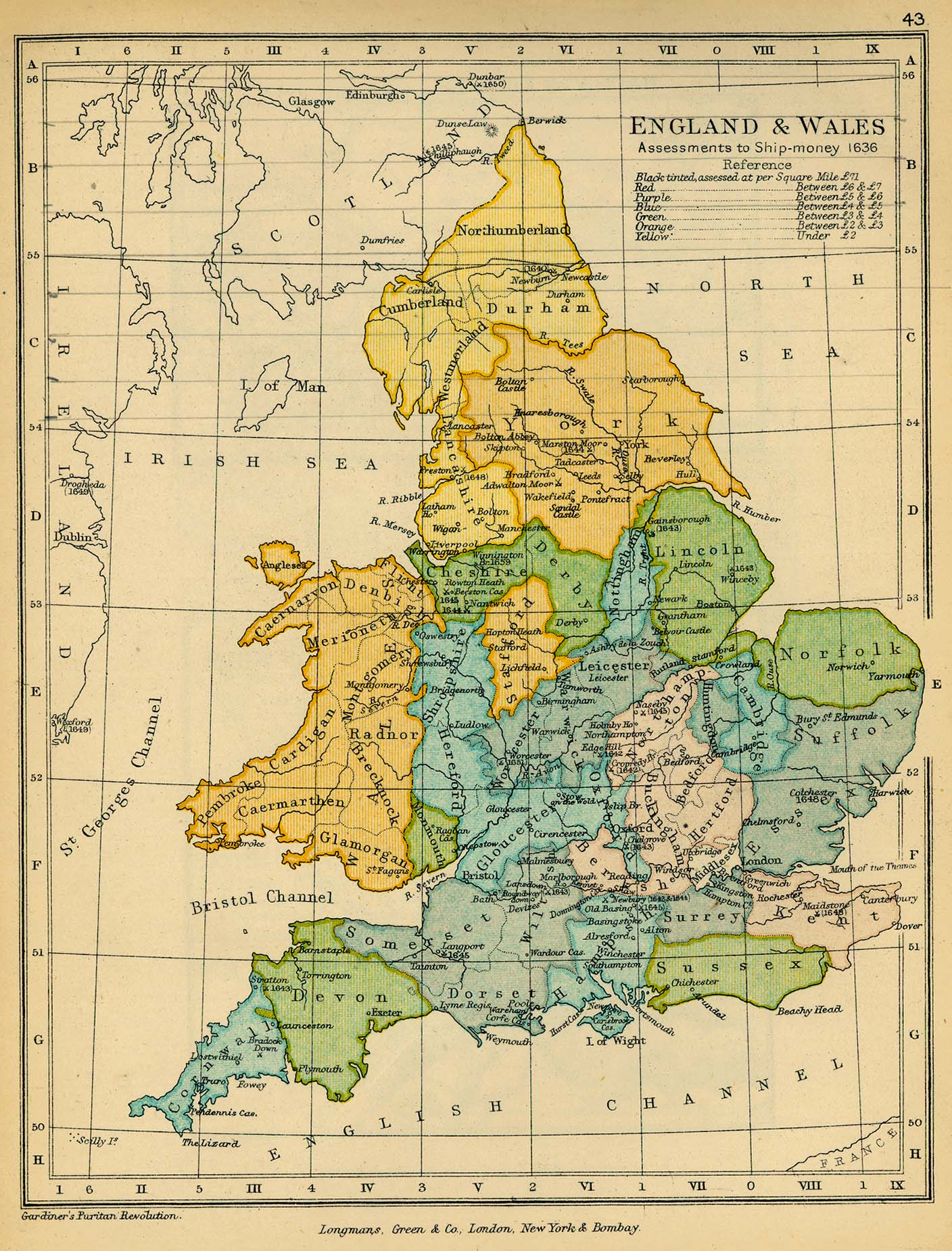 Public schools historical atlas by c colbeck perry castaeda map 42 england and wales assessments to ship money gumiabroncs Image collections