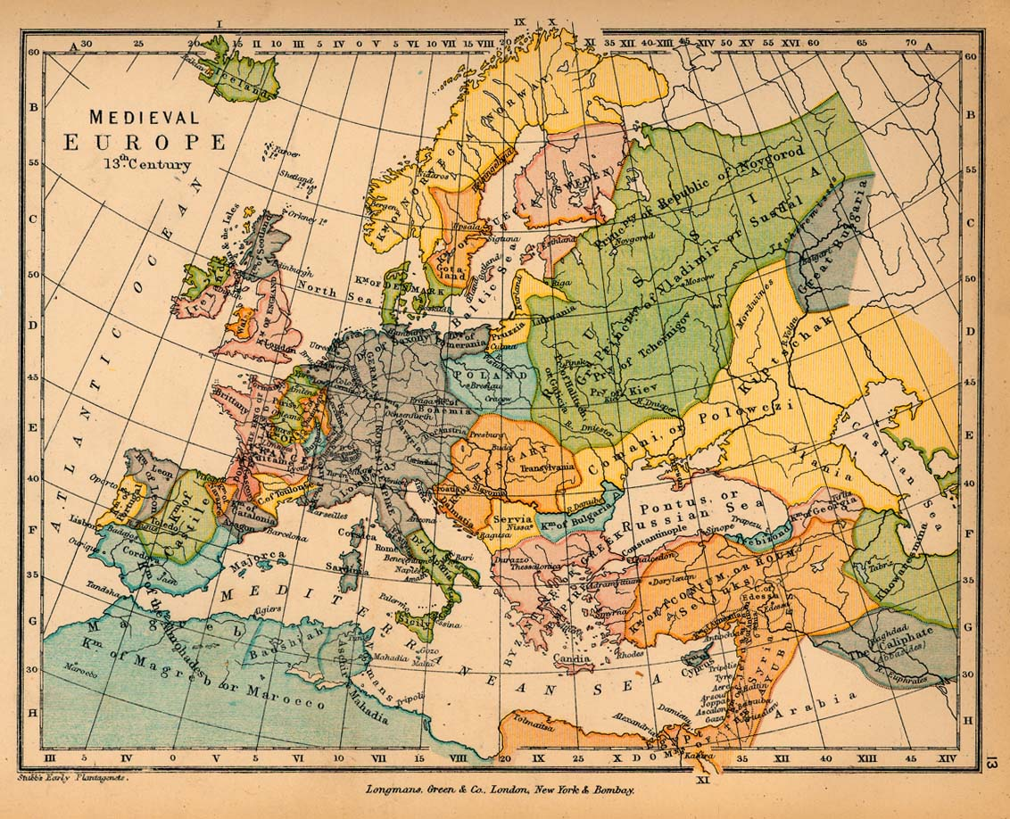 Public schools historical atlas by c colbeck perry castaeda map 12 medieval europe in the 13th century gumiabroncs Images