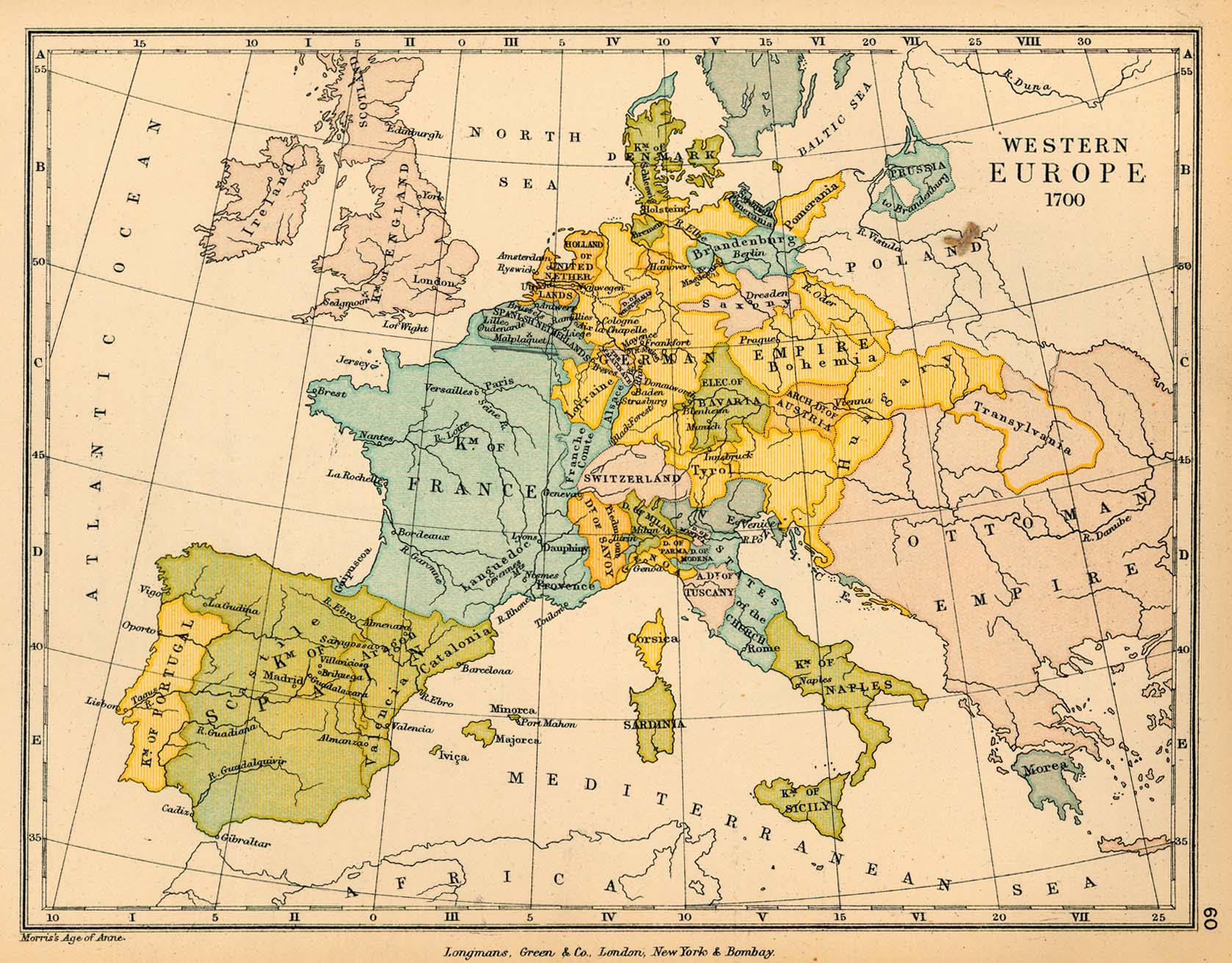 Public schools historical atlas by c colbeck perry castaeda map western europe in 1700 384k map 60 gumiabroncs Image collections