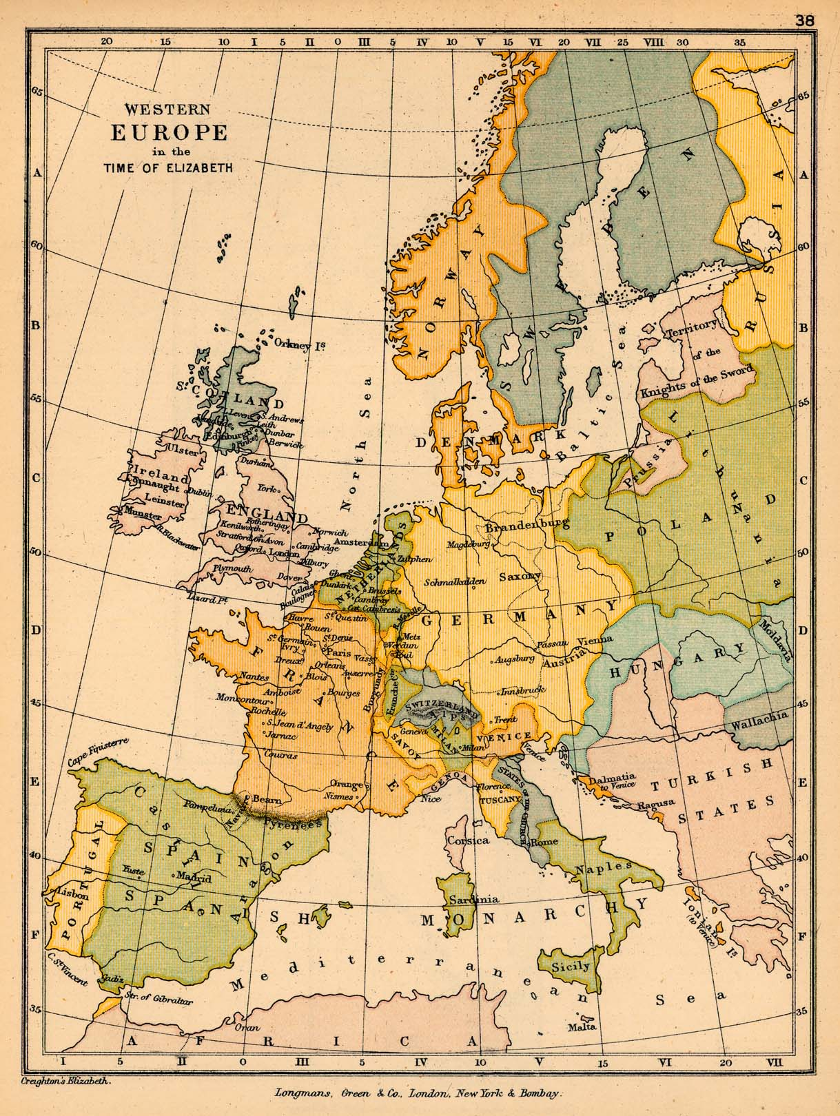 Public schools historical atlas by c colbeck perry castaeda map map 37 western europe in the time of elizabeth gumiabroncs Gallery