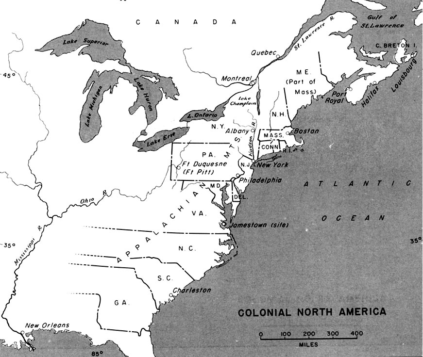 WWWVL History United States History Colonial Era - Us colonies and england world map