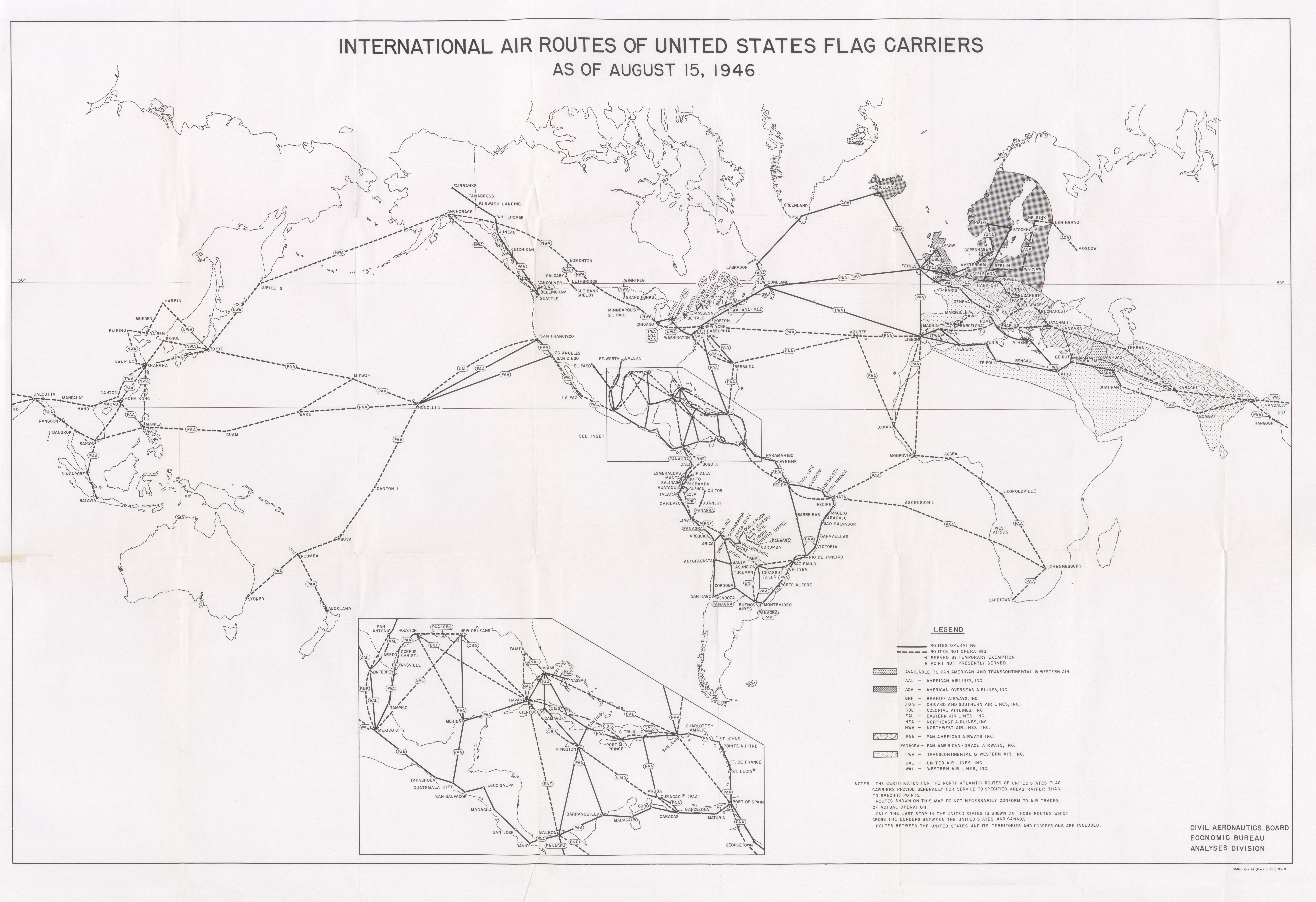 Maps From Congressional Hearings PerryCastañeda Map Collection - Map of us airline routes
