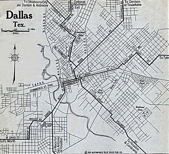 Historical Maps of U.S Cities. Dallas, Texas 1920 Automobile Blue Book (187K)