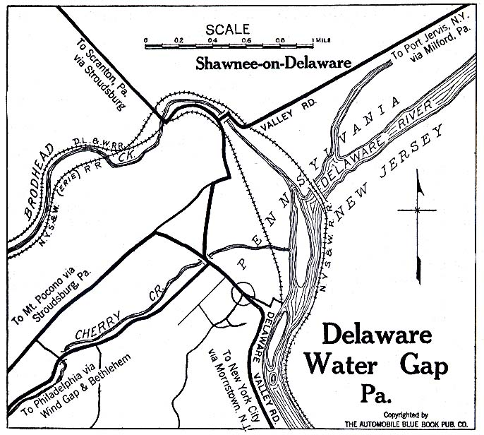 Historical Maps of U.S Cities. Delaware Water Gap, Pennsylvania 1920 Automobile Blue Book (137K)