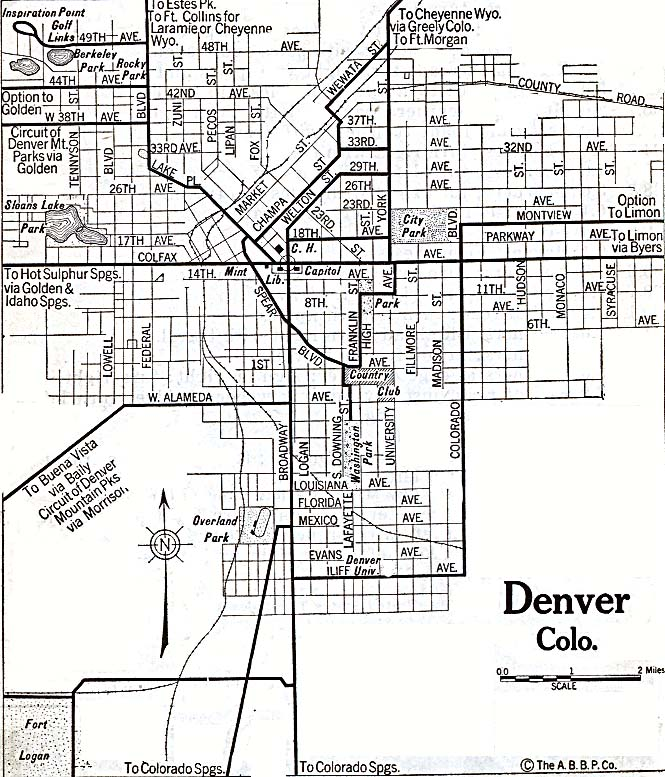 Historical Maps of U.S Cities. Denver, Colorado 1920 Automobile Blue Book (179K)